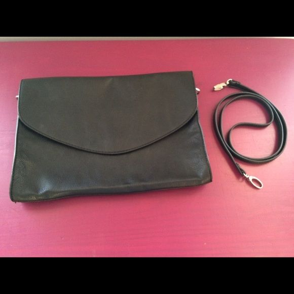 Oversized clutch-Black Black faux leather oversized clutch with detachable strap. Forever 21 Bags Clutches & Wristlets