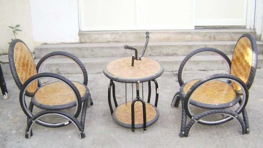 Outdoor Furniture Using Bicycle Tires And Parts By Recycle
