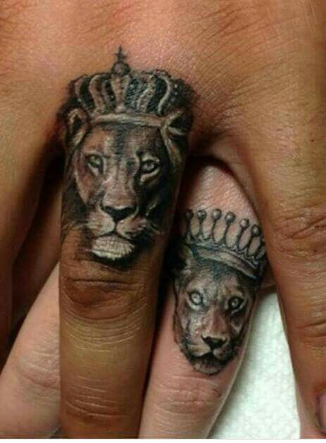 King And Queen Lion Tattoos : queen, tattoos, Lioness, Queen, Beasts, Couple, Tattoos,, Relationship, Matching, Tattoos