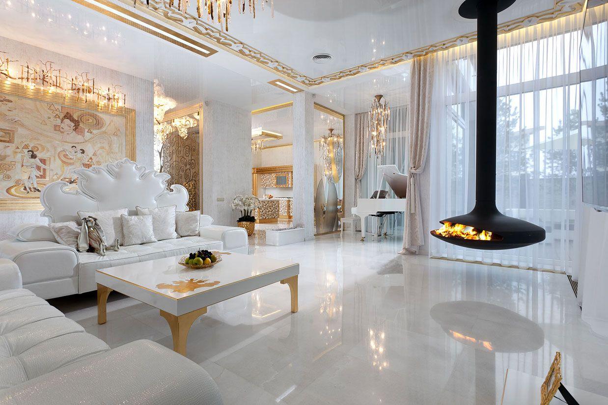 Huis Interieur › Luxe En Unieke Moderne Woonkamer Met Een Bank En ...