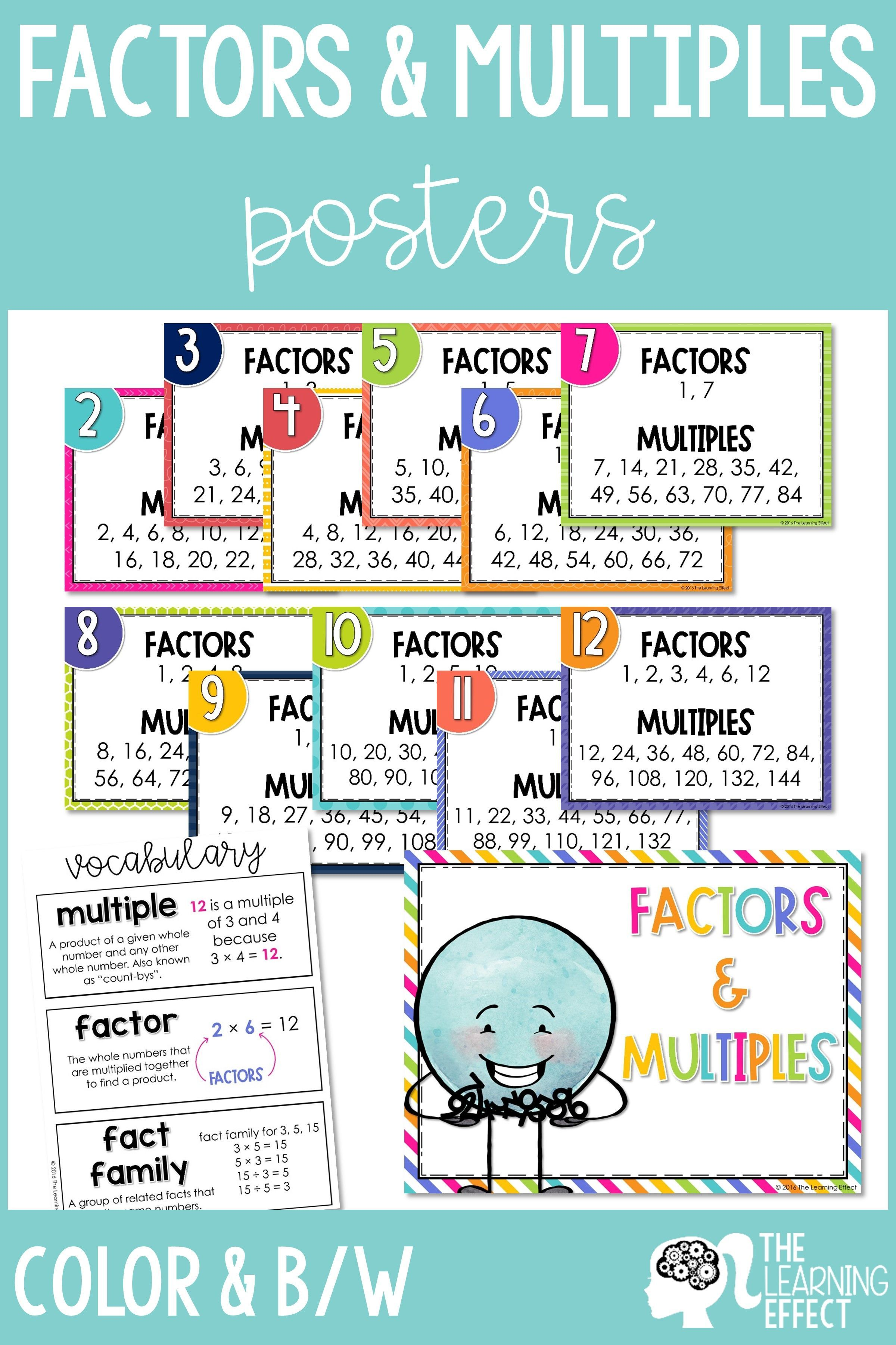 Are Your Students Learning Factors And Multiples These Posters Are Beneficial For Students Lear Factors And Multiples Teaching Multiplication Student Learning