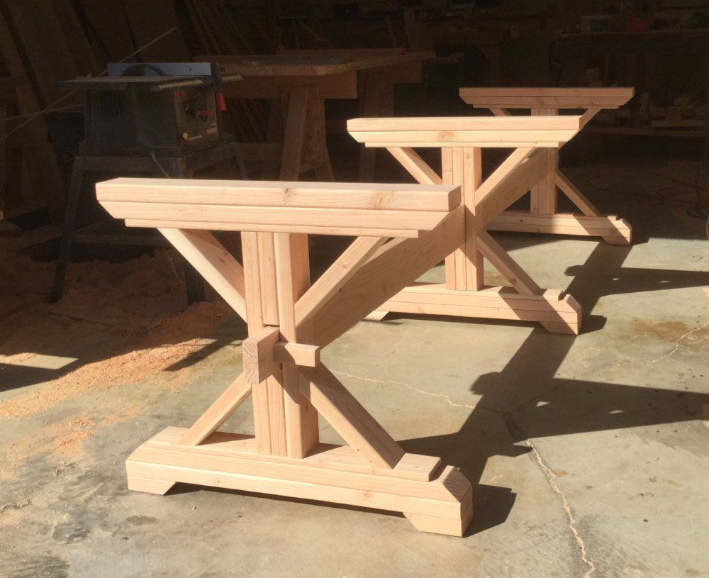 Make Your Own Farmhouse Style Triple Trestle Table Base With Our Kit These Kits Are Custom Made For The Finished Length Of You Would Like