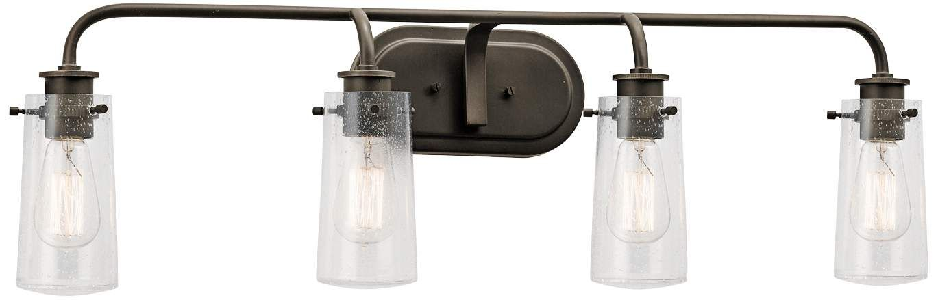 Photo of Kichler Braelyn 34 and a quarter inch wide old bronze 4 light bath light