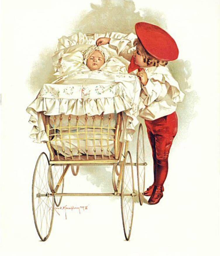 Днем, открытка ребенка в коляске