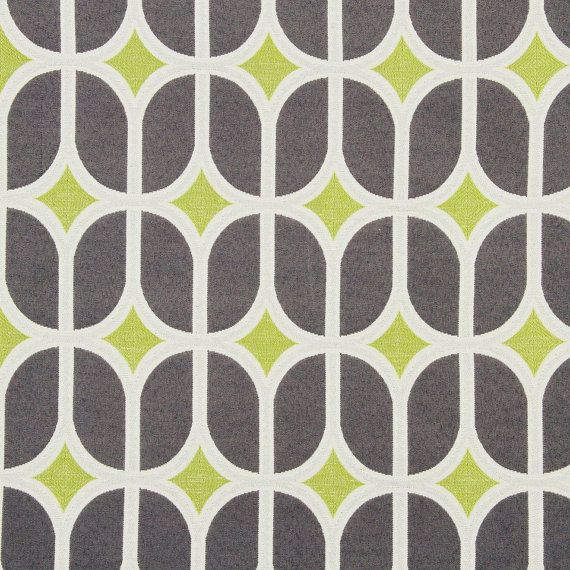 A Modern Geometric Woven Upholstery Fabric In Charcoal Gray Lime Green And White This Home Decor Is Suitable For Furniture