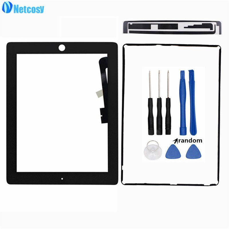 Netcosy Für ipad 3 4 Touch Screen Glas Digitizer reparatur für ipad 3/4 touch panel & touchscreen tape & rahmen kleber & werkzeug #touchpanel