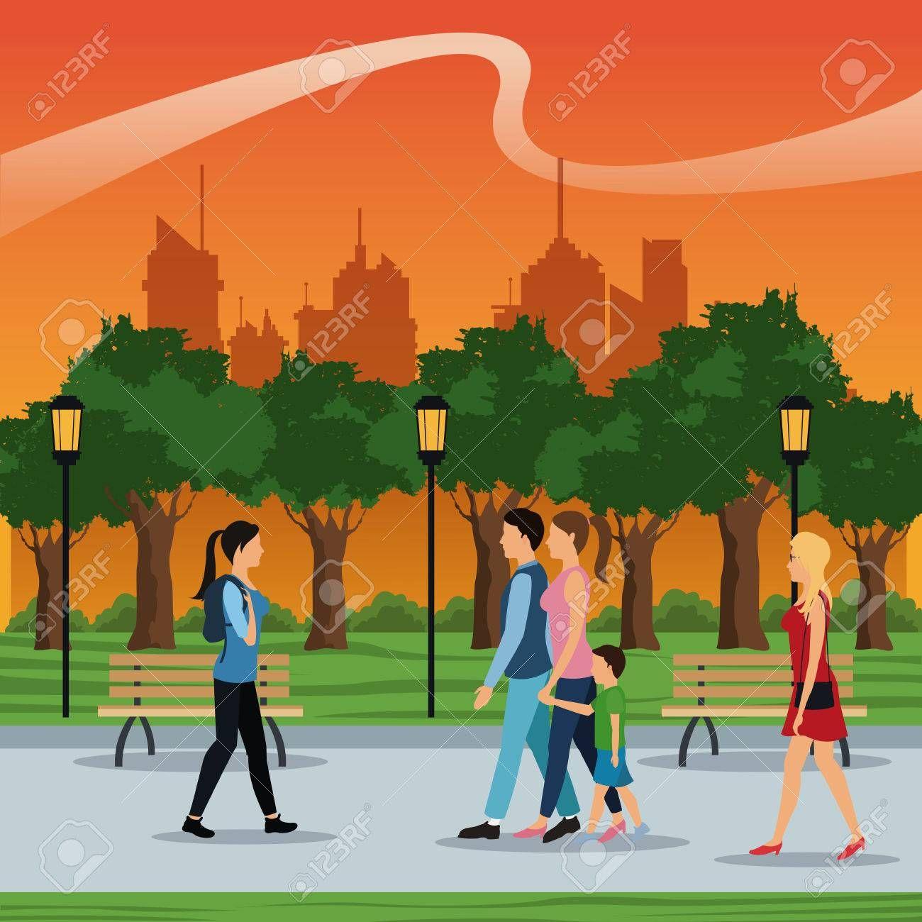 People Walking City Park Brench Lamp Postlight Trees Sunset Vector Walking City Park City Sunset