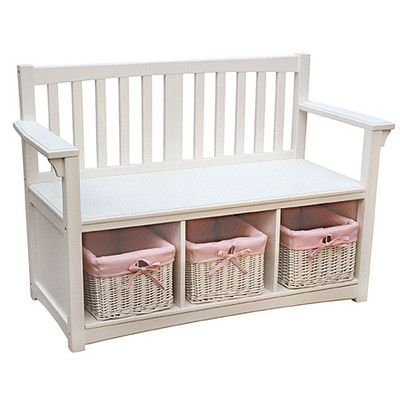 Guidecraft Classic White Indoor Bench With Baskets