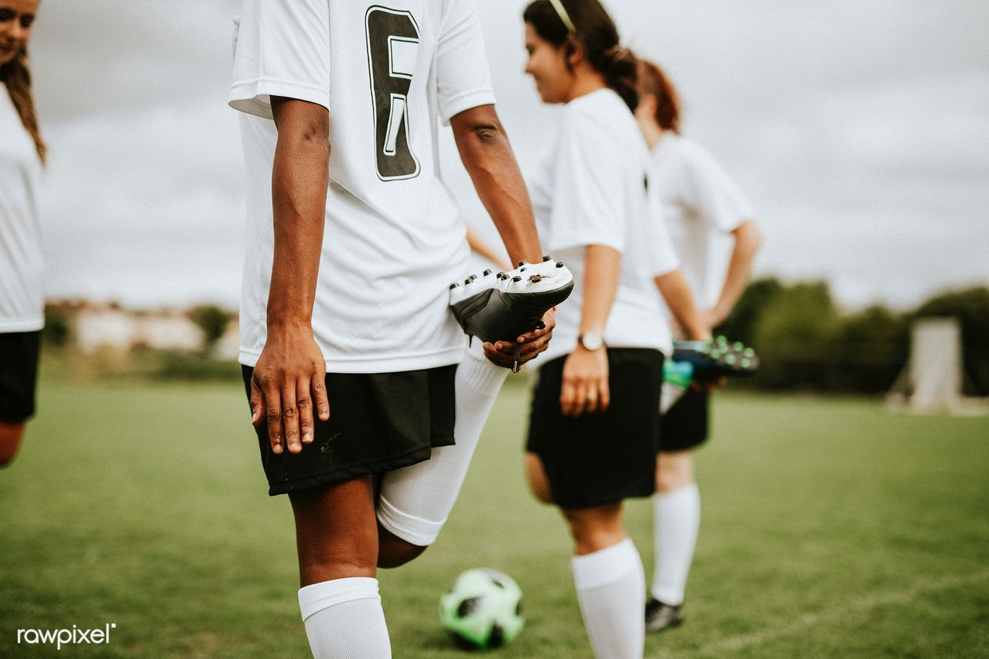 Download premium image of female soccer team players