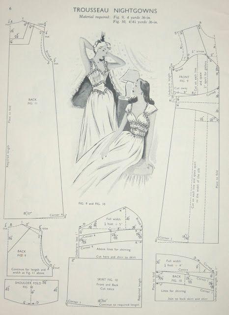 13887b274d6bf 1940s Trousseau Nightgowns, vintage underwear, undergarments, lingerie.  Pattern.