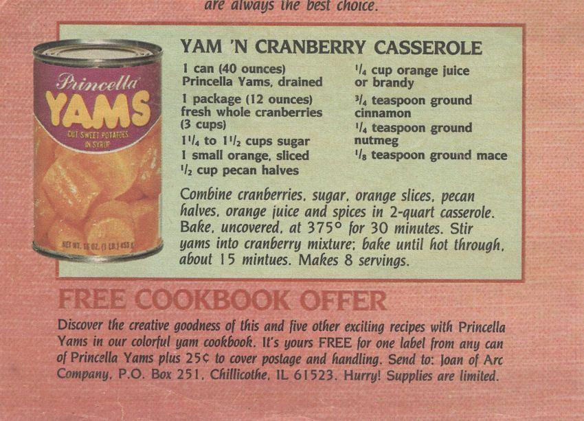 Yam Cranberry Casserole Recipe From An Old Princella Yams Ad