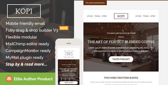 Kopi Restaurant Email Template Builder Access Pinterest