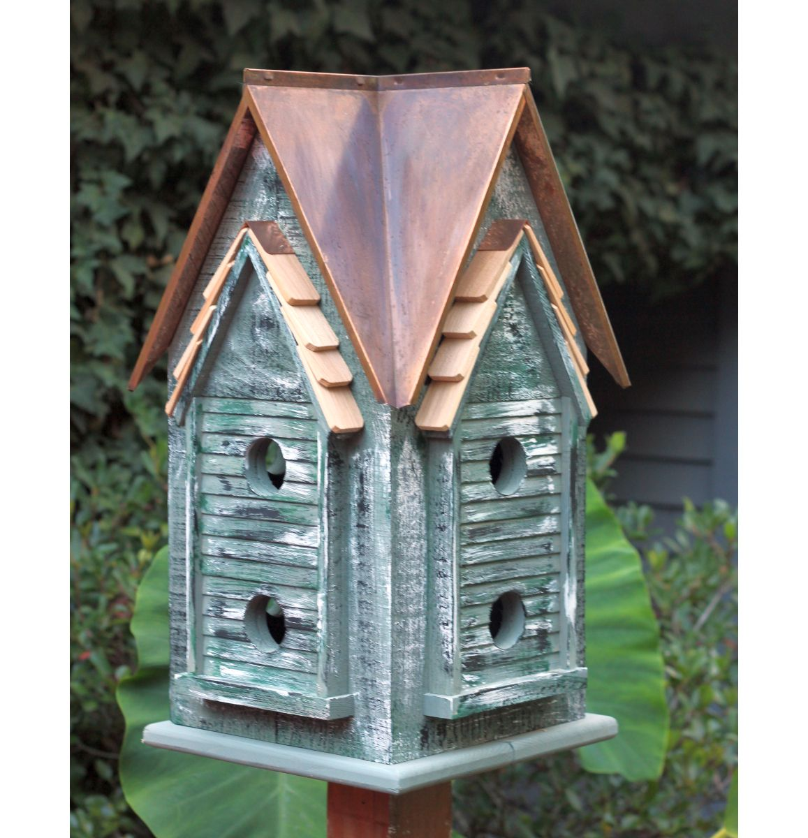 Copper Mansion Bird House Brown Patina Roof Decorative And Functional Birdhouses For Nesting Birds At Songbird Gard Bird House Bird Houses Purple Martin House