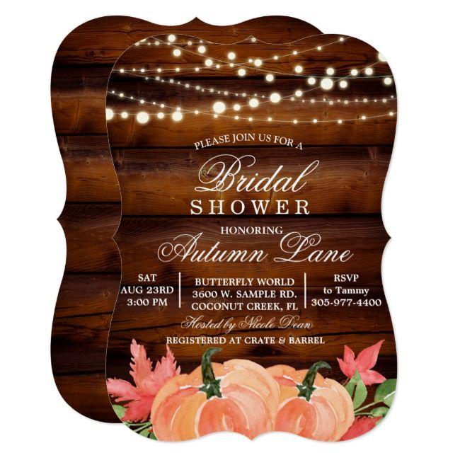 Rustic Fall Autumn Pumpkin BridaShower Invitation |  Rustic Fall Autumn Pumpkin  BridaShower Invitation