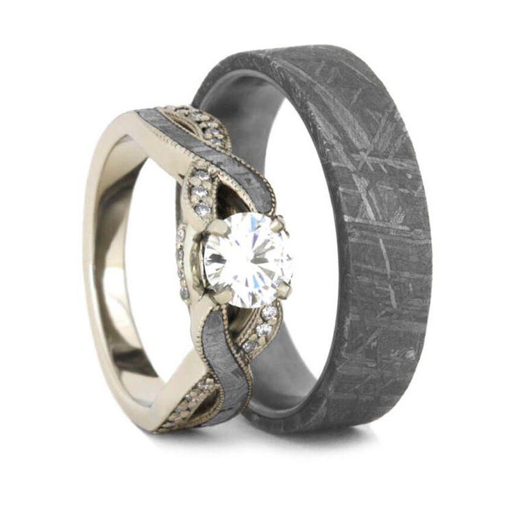 meteorite wedding ring set moissanite engagement ring and band - Meteorite Wedding Ring