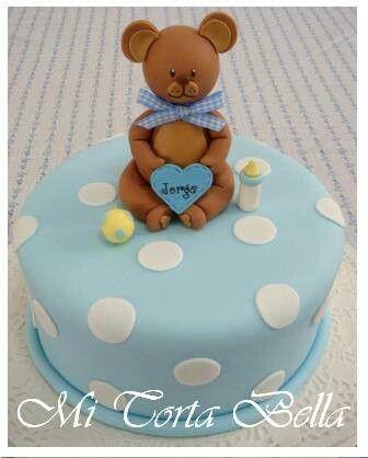 Ideas Baby Shower Nino Ositos.Torta Para Baby Shower De Nino Osito Con Biberon Y Pelota