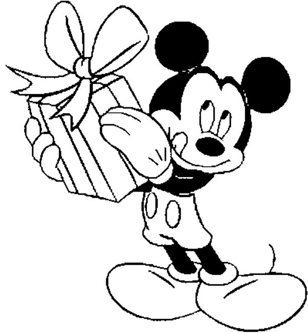 Mickey Mouse Gift Giving Coloring Pages | Mickey mouse ...