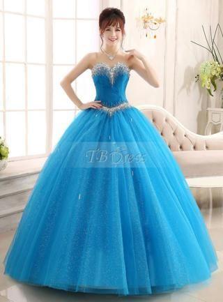 Vestido De 15 Años Azul Turquesa 2 Vestidos Color Azul