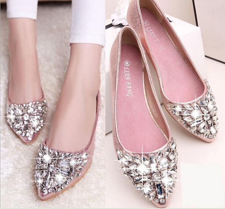 full size Stock 2016 pink champagne wedding shoes silver pointed ...