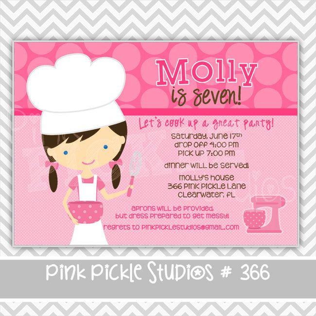 Stephanie Mauldin Little Chef Girl 366 Personalized Birthday - printable dinner invitations