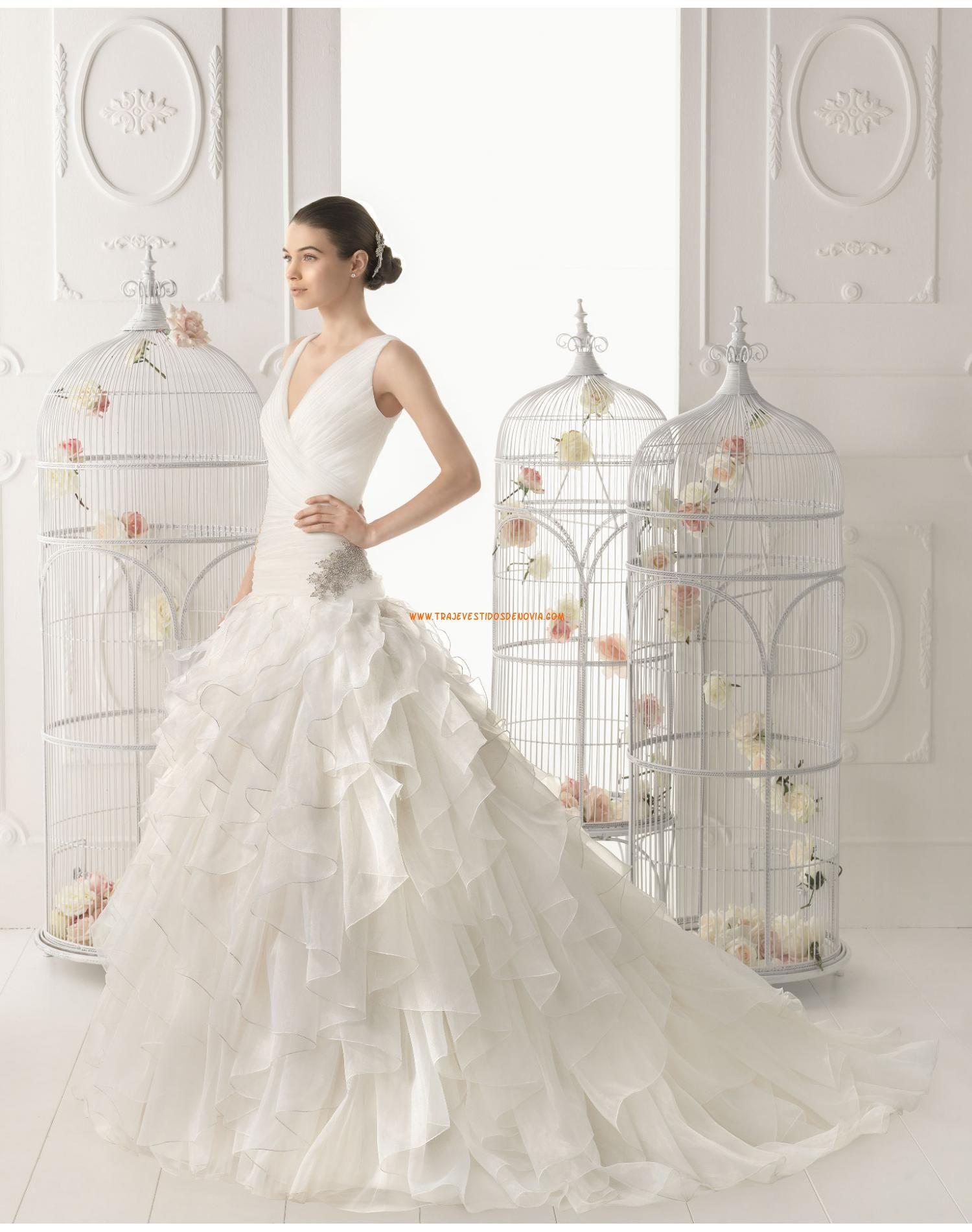 Escote v traje de novia de organza múltiples capas 2014 | vestidos ...