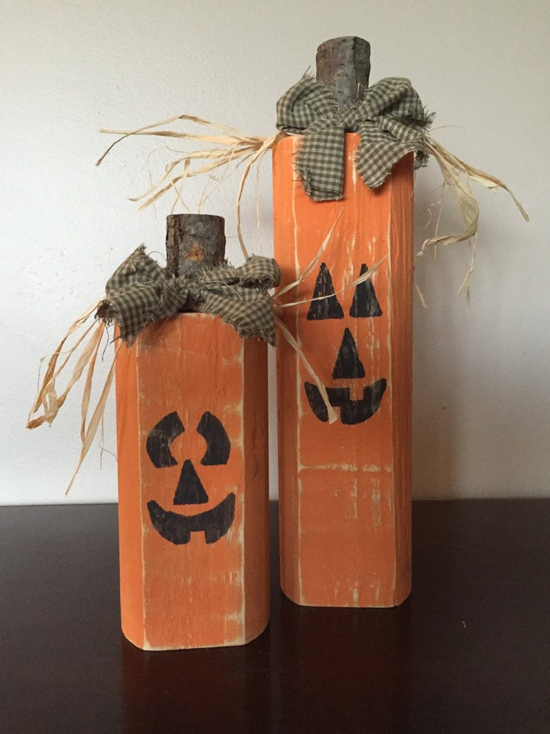 Photo of Wood Jack-o-lanterns, Wood Fall Pumpkin Block set – Seasonal Home Decor for fall, halloween and decorating, fall decor, halloween decor