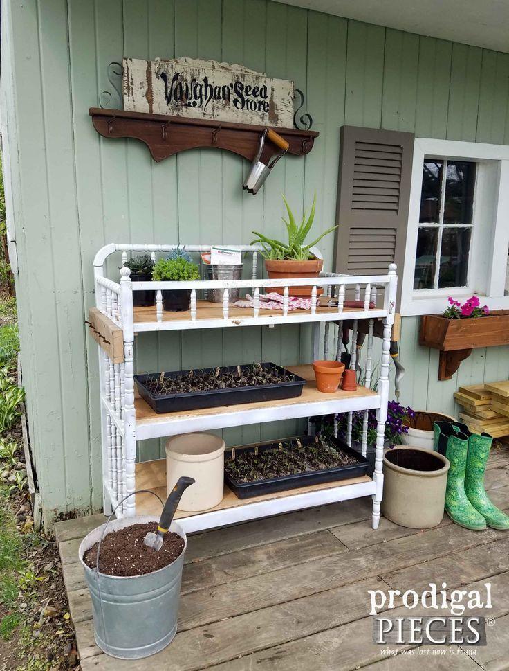 Repurposed Furniture Garden Potting Tables