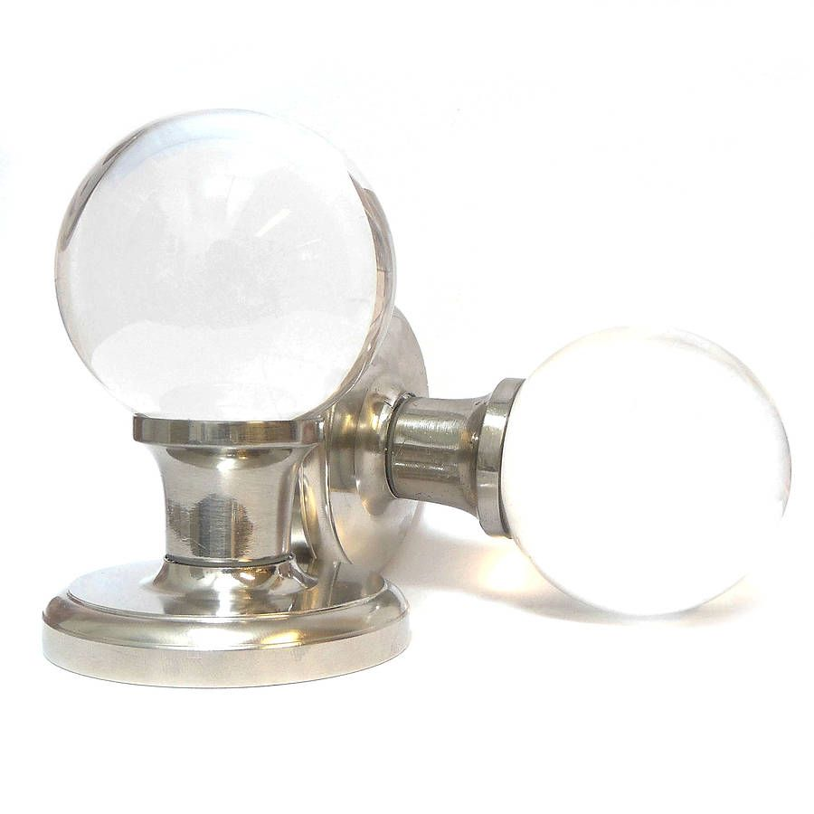 pair of glass ball mortice door knobs by pushka knobs ...