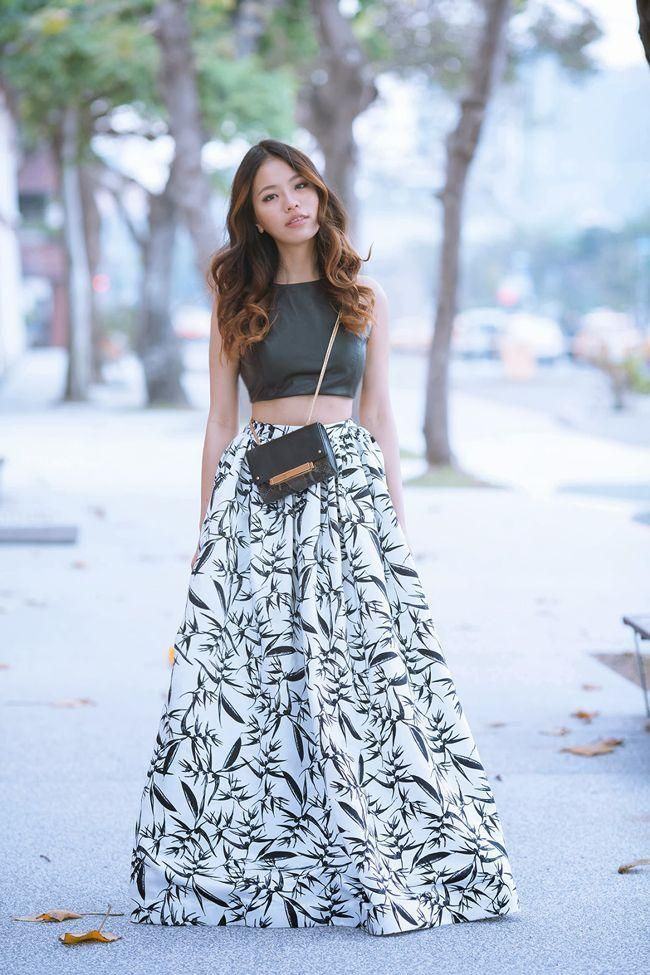 Cropped top, long skirt | Style Crush | Pinterest | Cropped tops ...