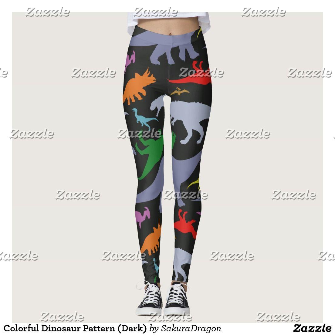79755f3ef4d1d3 Colorful Dinosaur Pattern (Dark) Leggings   Designer Depot ...