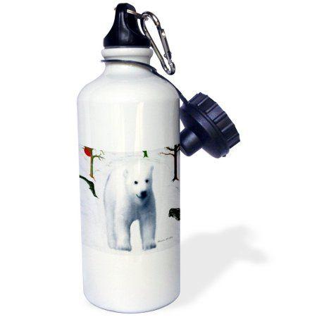 3dRose Polar Bear - F, Sports Water Bottle, 21oz, White