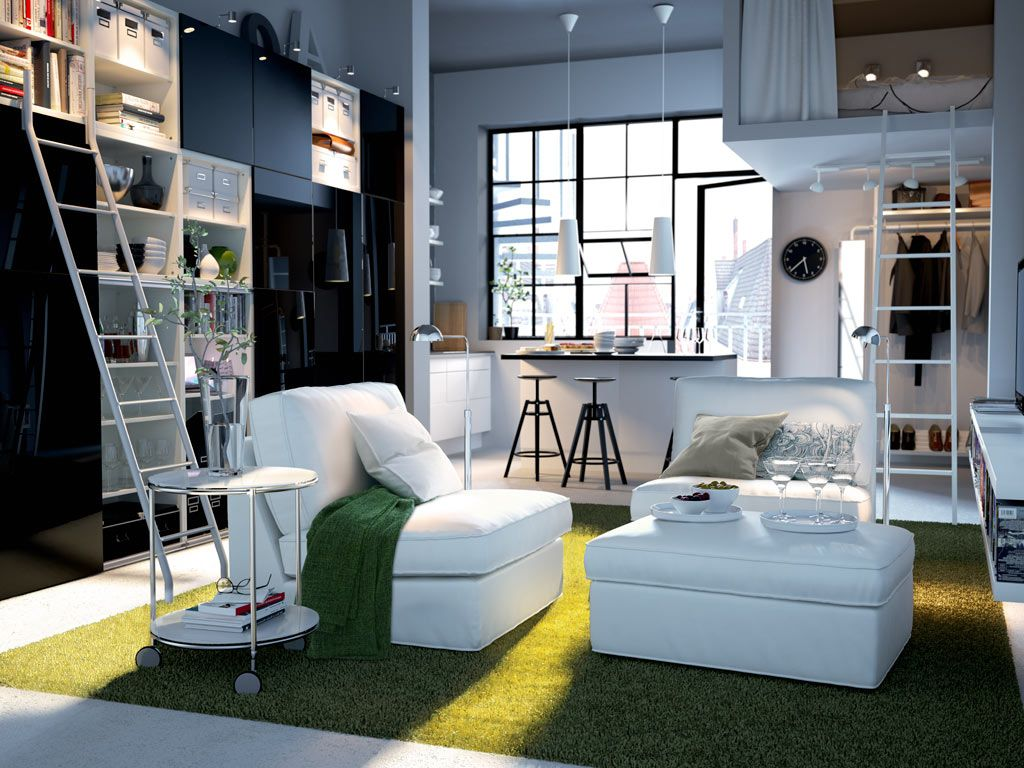 Ultra Functional Living Room Inspiration From Ikea A Storage Unit With Sliding Doors Workstation And Gl Mirror Inserts Make The Most Of Small E