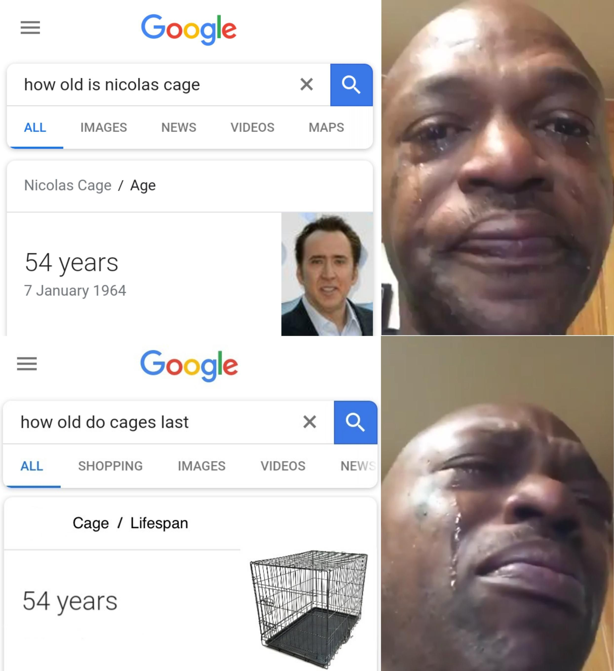 R I P Nicolas Cage How Old Is Google Searches Funny Google Searches Funny Relatable Memes Old Memes