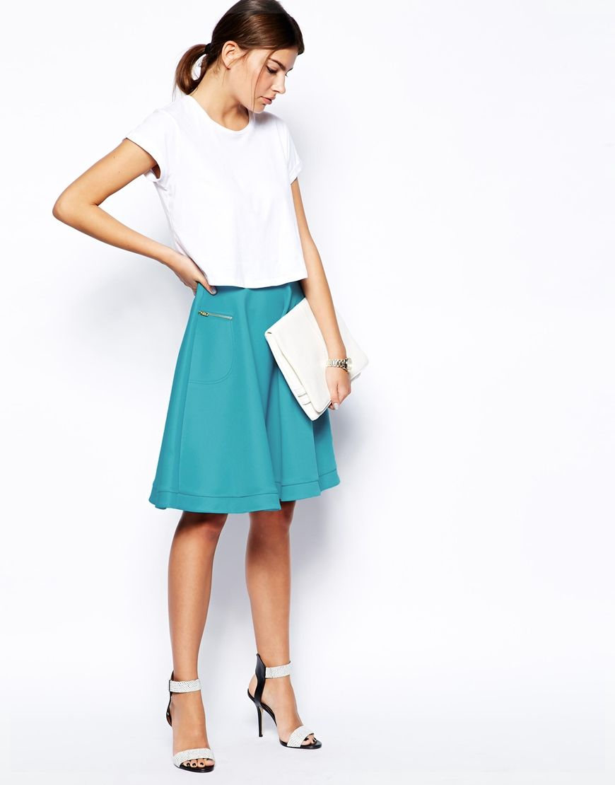 ASOS Midi Skirt In Scuba with Zips | Items I have | Pinterest ...