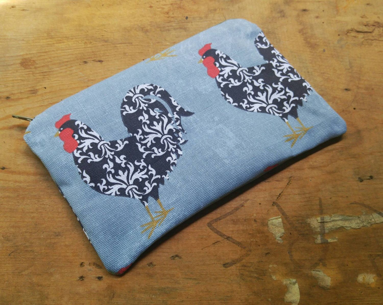Chicken zippered pouch, chicken cosmetic bag, chicken makeup bag, small zip pouch, small purse organizer, small zipper bag, small clutch bag