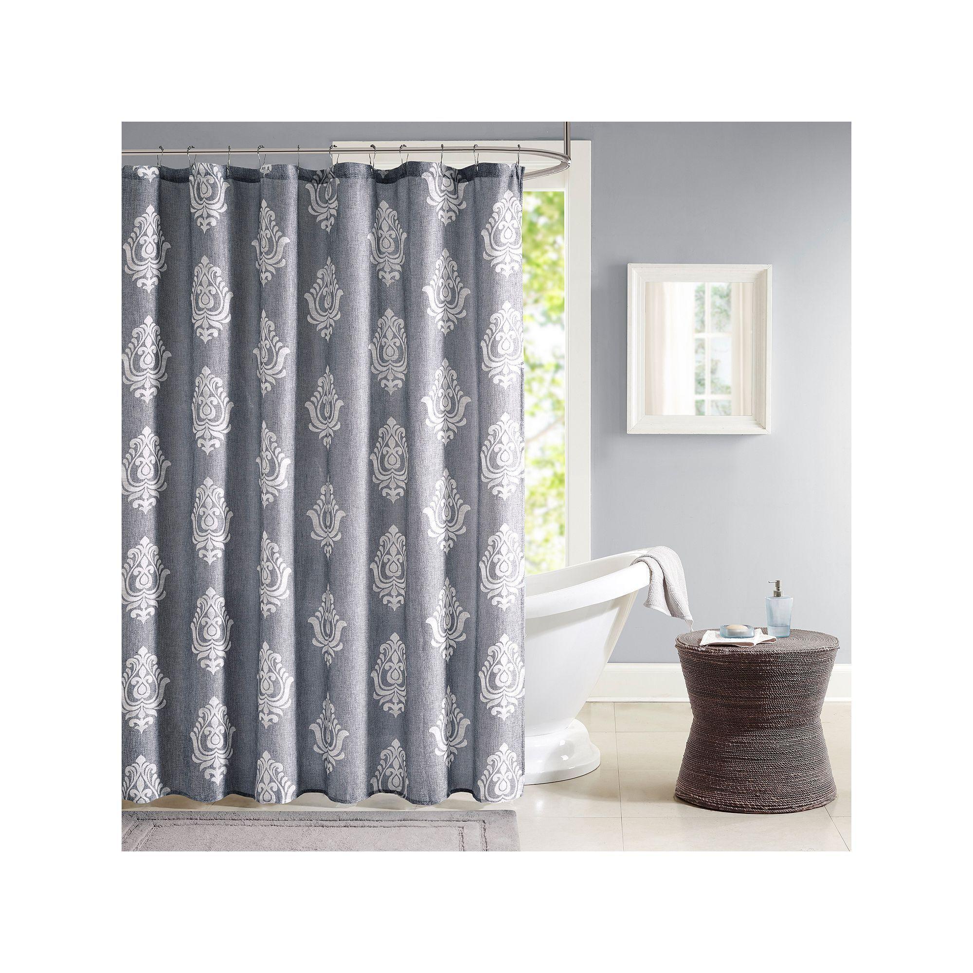 Madison park kensington texture print shower curtain grey products