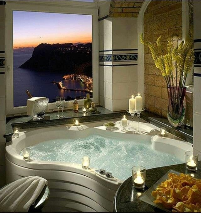 awesome romantic bathroom | That is one seriously awesome bath tub! | Romantic ...