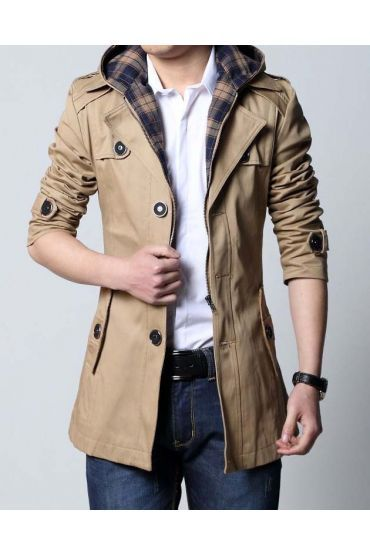 6fef29aae830 Manteau homme avec capuche type trench, coupe urban classic - mode pas cher  showroom de mode