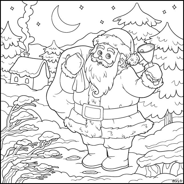 Paysage De Noel A Imprimer.Dessin à Imprimer Le Père Noël Dans Un Paysage D Hiver