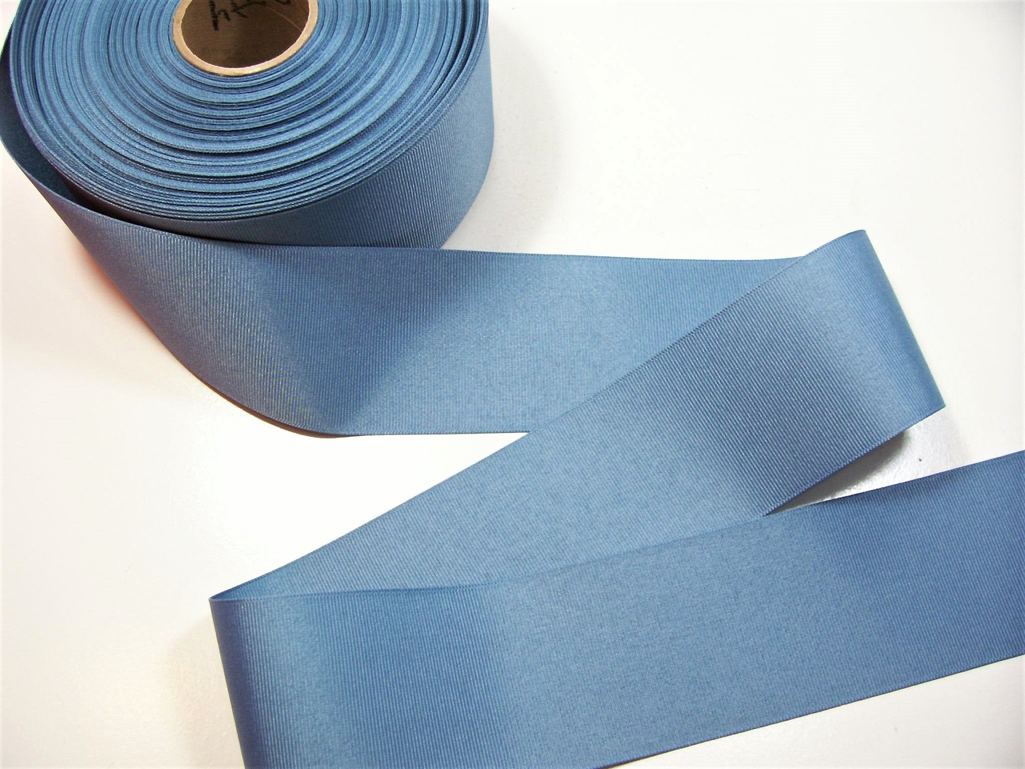 Blue Ribbon, Dusty Blue Grosgrain Ribbon 2 1/4 inches wide x 10 Yards, Country Blue