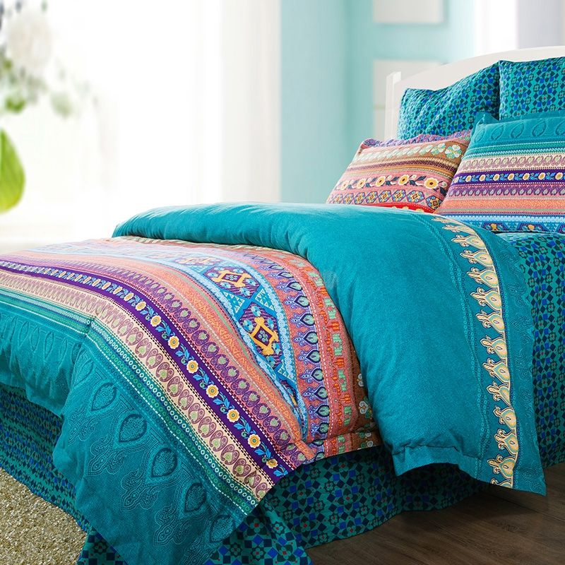 Teal Green Purple And Coral Red Bohemian Indian Tribal Stripe Print With Vintage Floral Full Queen Size Bedding Sets Red Bedding Sets Coral Bedding