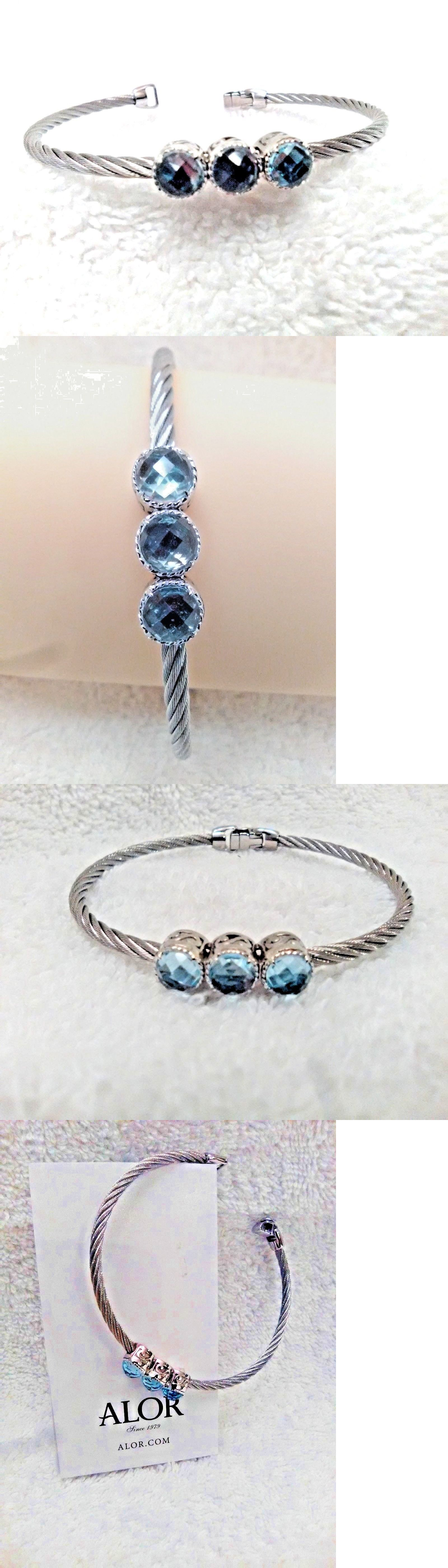 Alor k gold stone blue topaz twisted cable bangle grey new