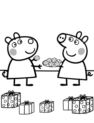 Peppa Gives Suzy Cookies Coloring Page Peppa Pig Coloring Pages Peppa Pig Colouring Peppa Pig Christmas