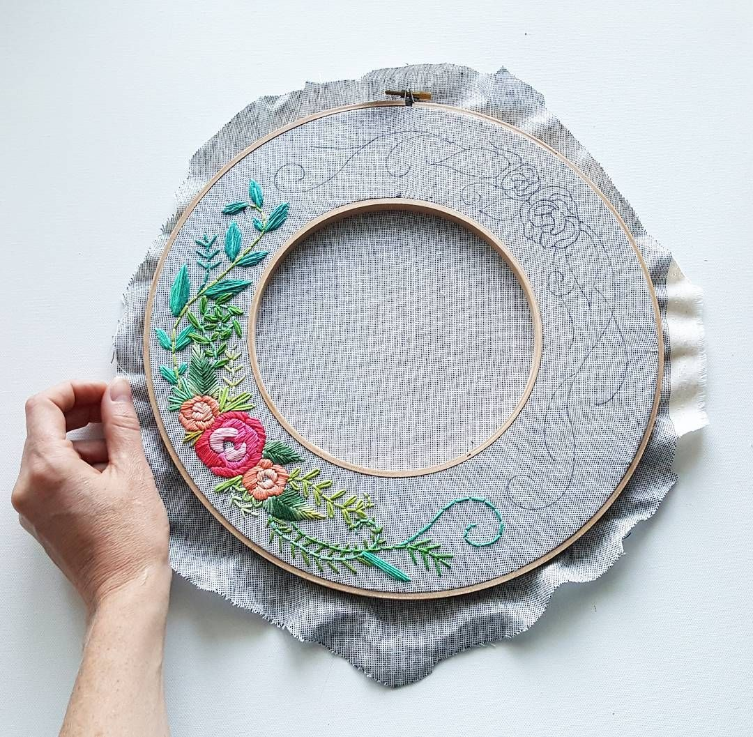 Wip adapting my rose wreath pattern to this double hoop wreath