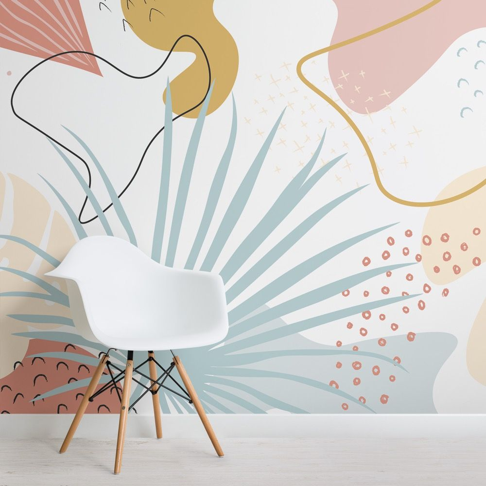 Pink Blue Abstract Leaves Tropical Wallpaper Mural Hovia Uk Wall Murals Painted Abstract Wall Mural Mural Wallpaper