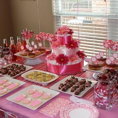 Pink And Red Baby Shower Id Es D Co Anniversaire