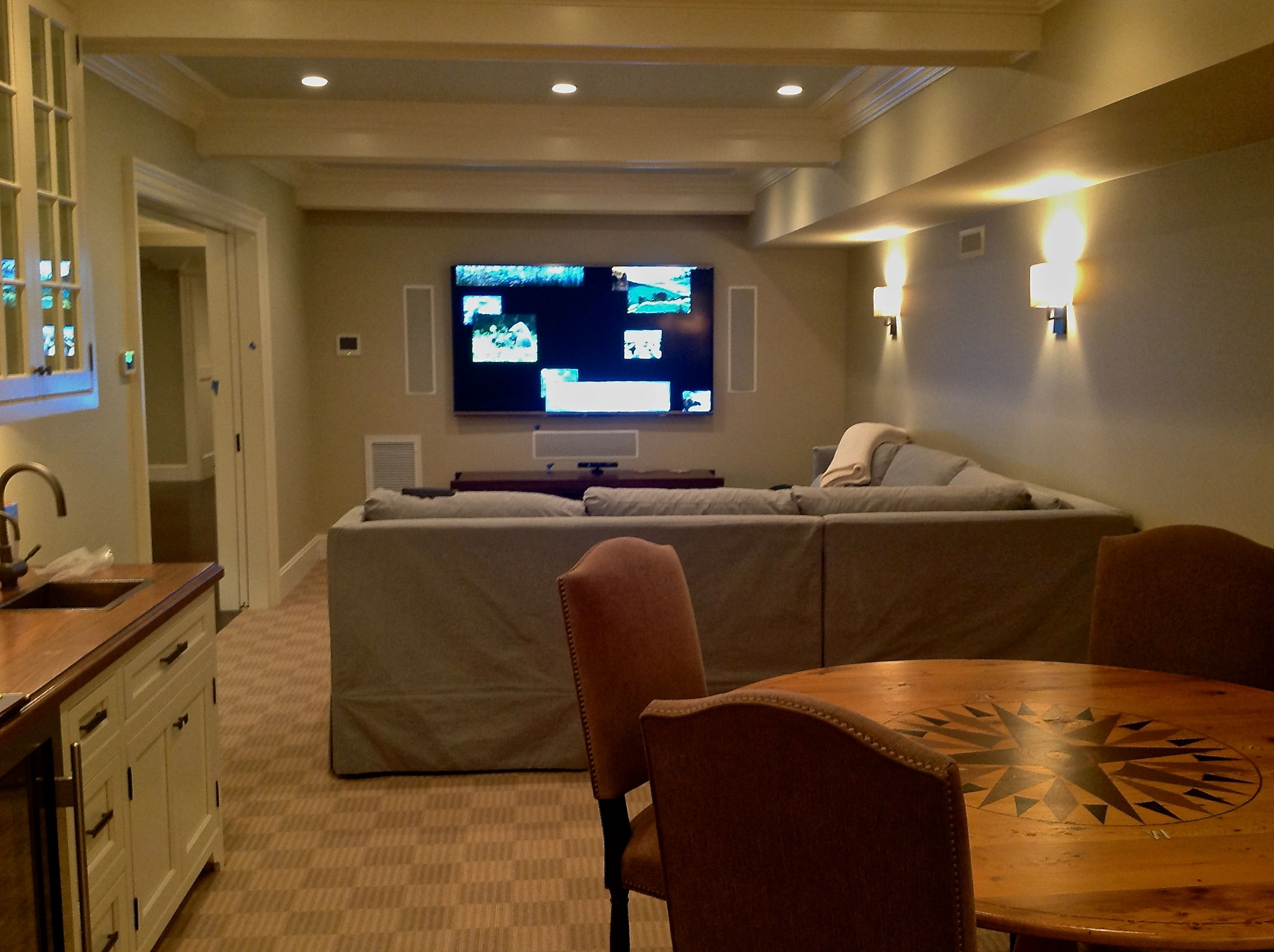 This Media Room Consist Of An 80 Sharp Display 5 1 Surround Sound System Sonos Audio Lutron Radio Ra2 Lighting Control And Hai Home Automation