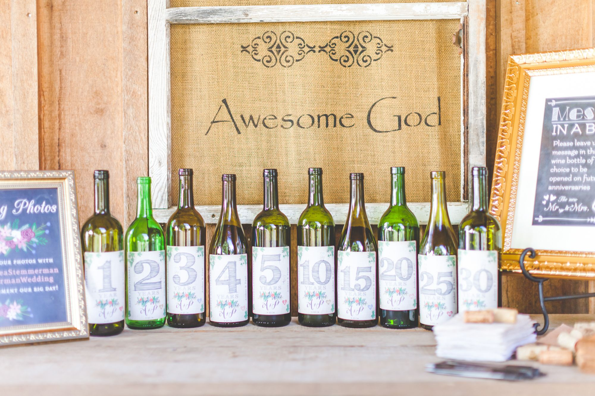 Time capsule wine bottles as a reception guest book