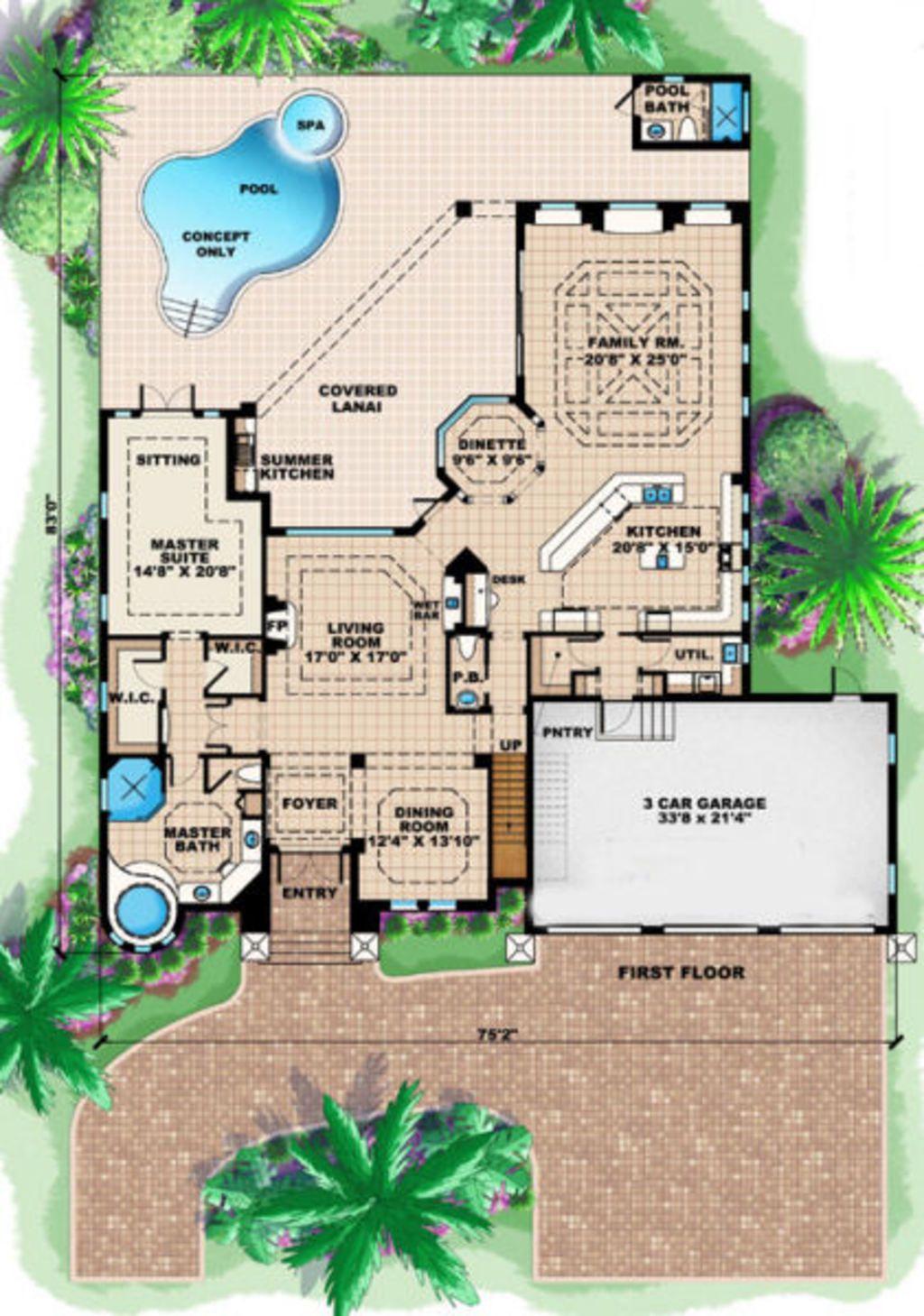 Mediterranean Style House Plan - 5 Beds 4.5 Baths 4138 Sq/Ft Plan ...