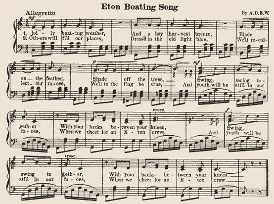 The Eton  Boating Song is possibly the best known of all the school songs associated with Eton College and is sung at the end of year concert as well as on other important occasions.